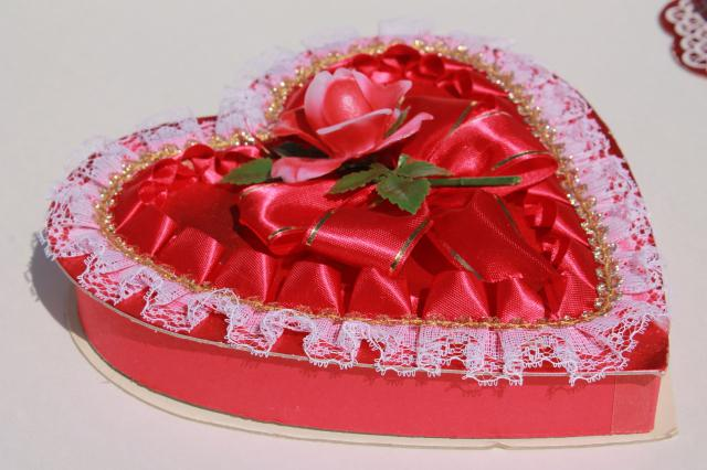 vintage Valentines, collection of valentine heart shaped candy boxes w/ flowers