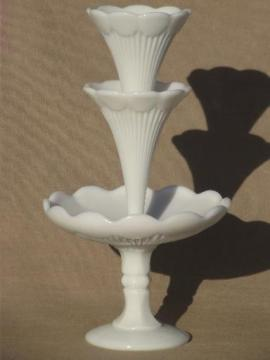 vintage Vallerysthal milk glass epergne, French flower vase w/ two horns