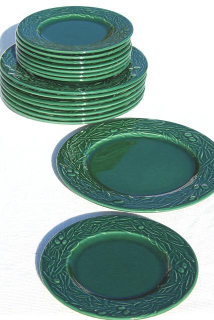 vintage Varages French pottery plates green embossed leaves olive leaf wreath pattern  sc 1 st  Laurel Leaf Farm & vintage Varages French pottery plates green embossed leaves olive ...
