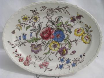 vintage Vernon Kilns china platter, May Flower tinted transferware chintz