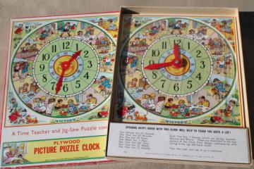 vintage Victory wood jigsaw puzzle, teaching time clock children's jig-saw puzzle