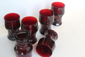 vintage Viking Georgian pattern ruby red glass tumblers, tall drinking glasses