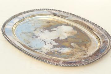 vintage Viking silver serving tray, large silver plate platter w/ tarnished patina