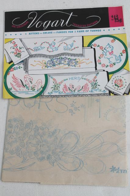 vintage Vogart hot iron on transfers, pillowcases to embroider embroidery transfer lot