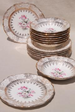 vintage Vogue china small bowls & plates, pink & grey tulips embossed border w/ gold