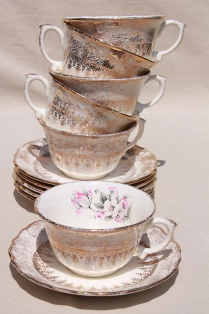 vintage Vogue china tea cups & saucers & platter, pink & grey tulips embossed border w/ gold