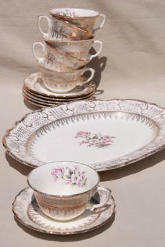 vintage Vogue china tea cups & saucers & platter, pink & grey tulips embossed border w/ gold