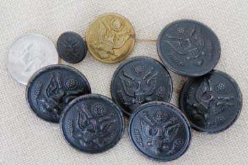 vintage WWI WWII US Army bronze eagle uniform buttons, Art Metal buttons