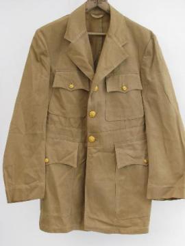 vintage WWII US Navy khaki officer's uniform tunic, original labels & buttons