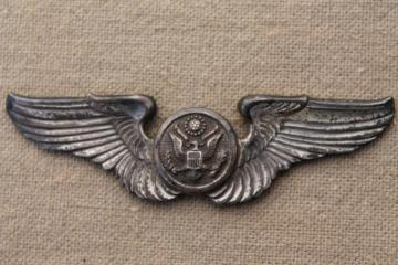 vintage WWII pilot's air crew uniform flying wings badge marked sterling silver