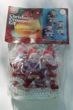 vintage Walco sealed kit Christmas ornaments flocked sequins beaded elves pixie girls