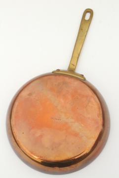 vintage Waldow copper saute pan or saucepan, small saucier w/ copper handle