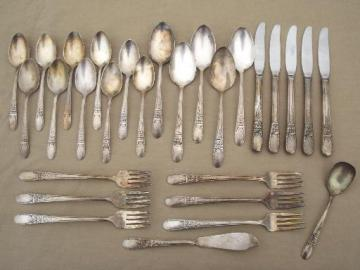 vintage Wallace silver plate flatware, Sweetheart / Hollywood pattern