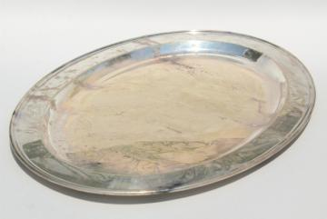 vintage Wallace silver plate, large oval waiters tray, old hotel silver