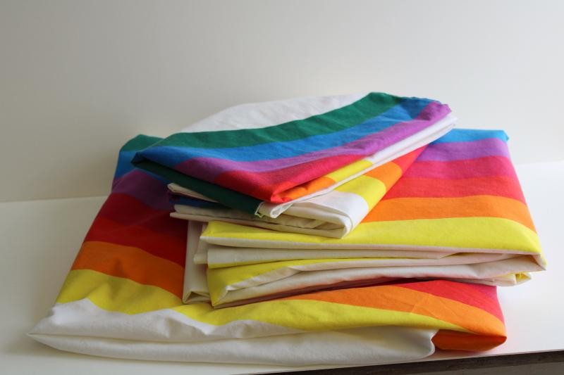 Vintage Wamsutta Rainbow Cotton Poly Double Bed Sheets