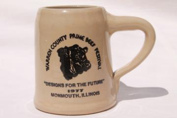 vintage Warren County Monmouth pottery stoneware beer stein mug, 70s Beef Festival w/ Angus