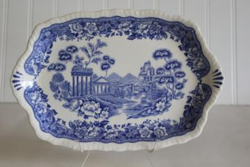 vintage Warwick china Tudor Rose blue & white transferware tray or platter