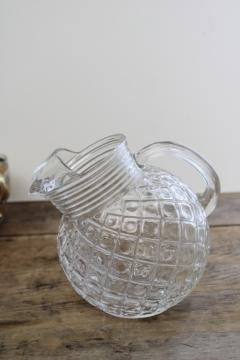 vintage Waterford waffle diamond pattern clear glass pitcher, tilt ball shape