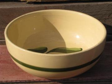 vintage Watts oven ware pottery, big old green banded red apple bowl
