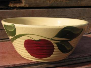 vintage Watts oven ware pottery, big old red apple ribbed mixing bowl
