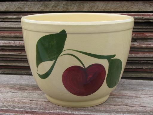 vintage Watts pottery, hand painted big red apple kitchen mixing bowl