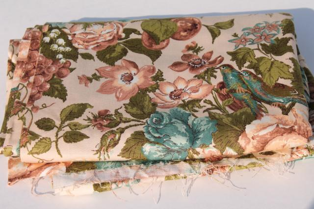 Vintage Waverly Spring Song Fabric Floral Print Cotton