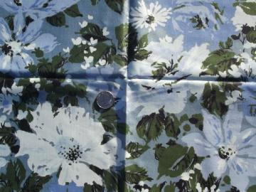 vintage Waverly cotton chintz fabric, shades of blue floral print
