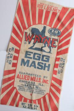 vintage Wayne egg mash layer hens chicken farm feed sack, red & blue print graphics