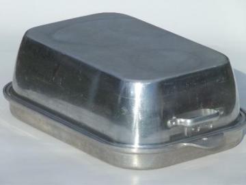 vintage Wear-Ever 818 918 aluminum roaster, huge roasting pan for a turkey