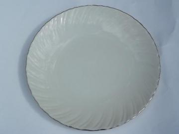 vintage Weatherly Lenox china round platter, ivory w/ platinum trim