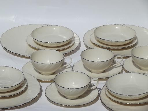 vintage Weatherly platinum trim Lenox china perfect never used set for 4 : lenox dinnerware set - pezcame.com