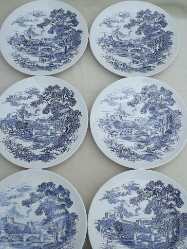 & vintage Wedgwood Countryside blue \u0026 white china dinner plates set of 6