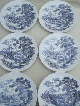 vintage Wedgwood Countryside blue & white china dinner plates, set of 6
