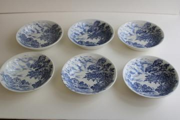 vintage Wedgwood Countryside blue & white china bowls, English scenic views toile print