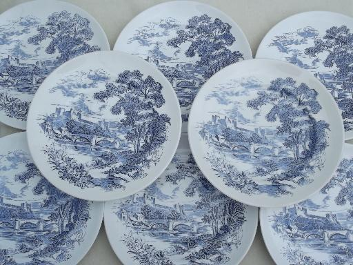 Vintage Wedgwood Countryside Blue White China Dinner