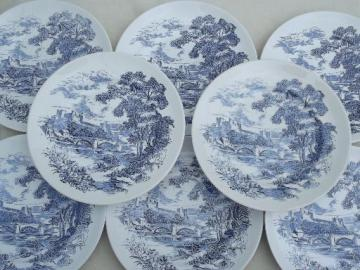 vintage Wedgwood Countryside blue & white china dinner plates, set of 8