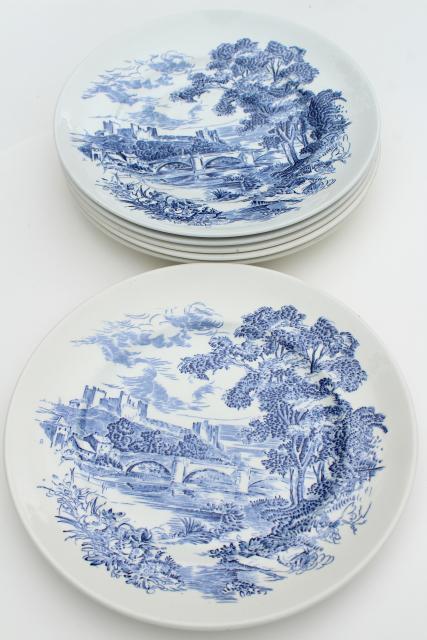vintage Wedgwood Countryside blue \u0026 white toile print transferware china dinner plates & vintage Wedgwood Countryside blue \u0026 white toile print transferware ...