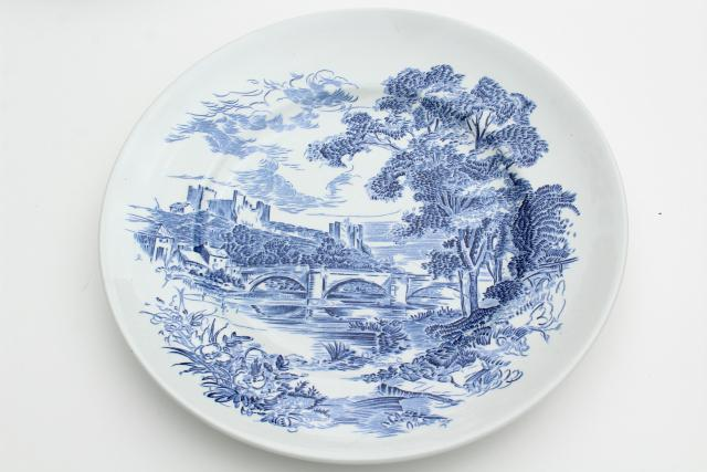 vintage Wedgwood Countryside blue u0026 white toile print transferware china dinner plates & vintage Wedgwood Countryside blue u0026 white toile print transferware ...