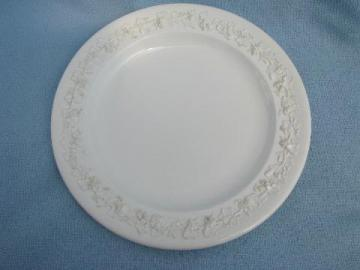 vintage Wedgwood Queensware cake plate, old embossed creamware china