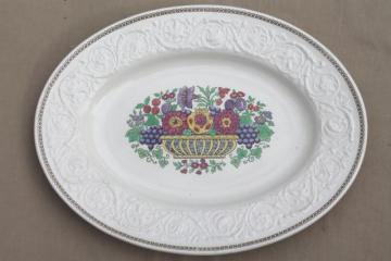 vintage Wedgwood Windermere turkey platter, antique creamware platter w/ flower basket