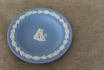 "vintage Wedgwood blue and white jasperware mini plate, 4"" round tray Cupid"