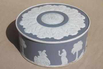 vintage Wedgwood blue & white fruitcake tin, jasperware figures embossed paper covered box
