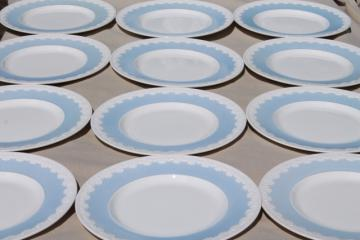 vintage Wedgwood china dinner plates, Albion blue & white Corinthian embossed border