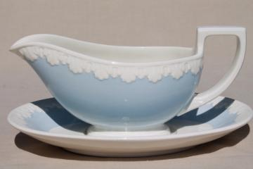 vintage Wedgwood china gravy boat, Albion blue & white Corinthian embossed border