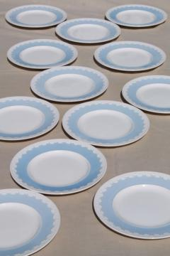 vintage Wedgwood china luncheon plates, Albion blue & white Corinthian embossed border
