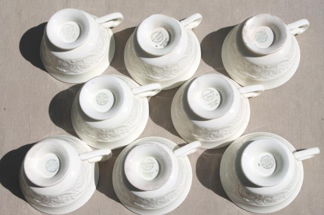 vintage Wedgwood creamware ivory china cups & saucers, Patrician embossed border