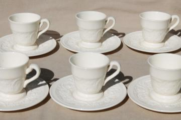 vintage Wedgwood creamware ivory china demitasse cups & saucers, Patrician embossed border