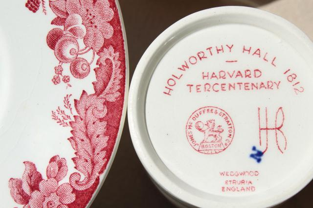 vintage Wedgwood demitasse coffee cups & saucers, pink red transferware Harvard scenes tercentenary