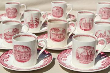 vintage Wedgwood demitasse coffee cups & saucers, pink red transferware Harvard scenes tercentenary