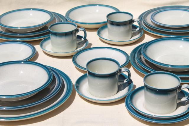 vintage Wedgwood dinnerware set for 4 Blue Pacific oven to table casual china & Wedgwood dinnerware set for 4 Blue Pacific oven to table casual china